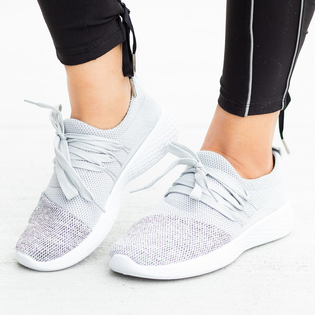 Womens Comfy Knit Athleisure Sneakers - Qupid Shoes