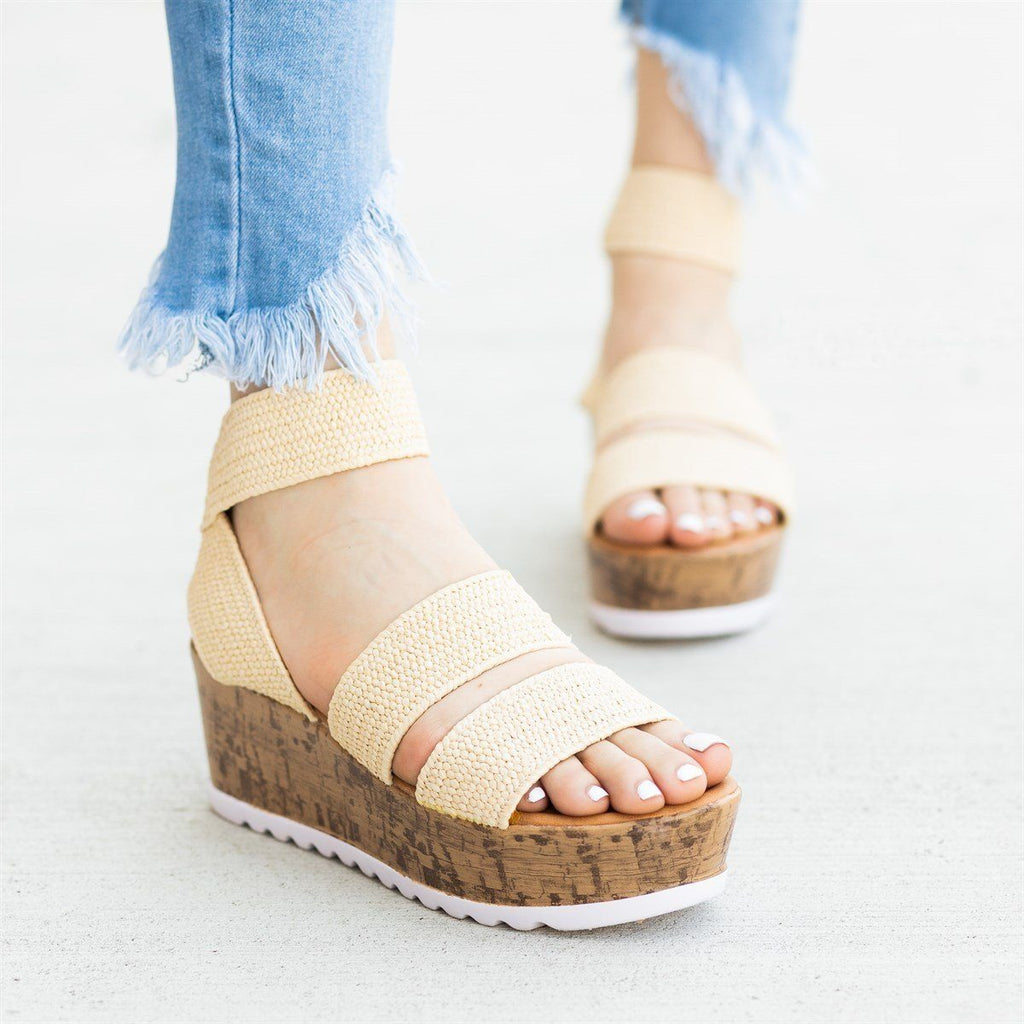 Womens Comfy Knitted Cork Wedges - Wild Diva Shoes