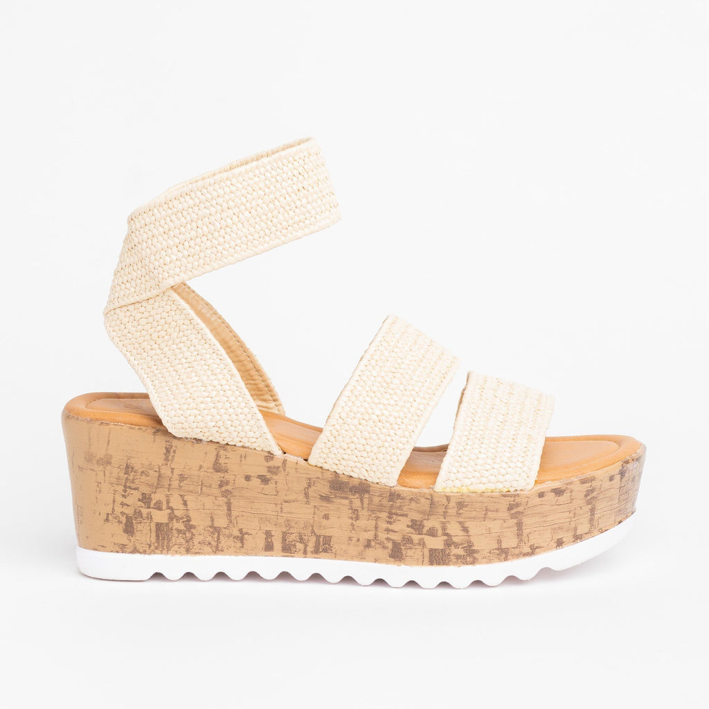 Womens Comfy Knitted Cork Wedges - Wild Diva Shoes - Natural / 5