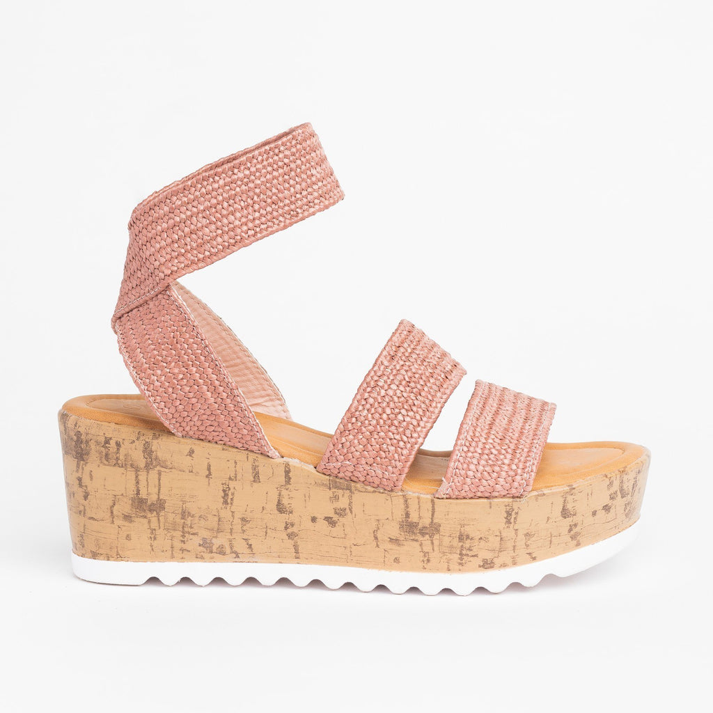 Womens Comfy Knitted Cork Wedges - Wild Diva Shoes - Mauve / 5