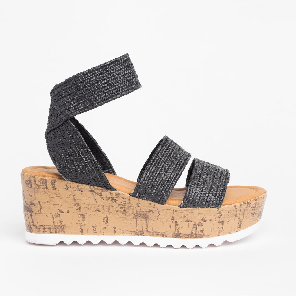 Womens Comfy Knitted Cork Wedges - Wild Diva Shoes - Black / 5