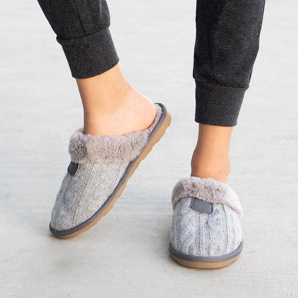 Women's Comfy Knitted Slippers - Forever - Gray / 5