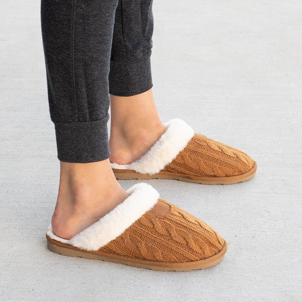 Women's Comfy Knitted Slippers - Forever - Tan / 5