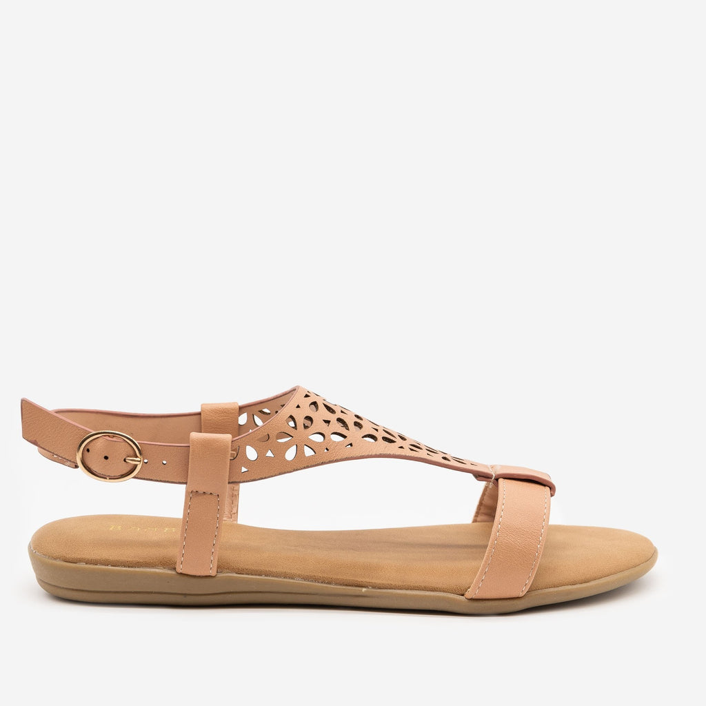 Women's Comfy Laser Cut Buckled Sandals - Bamboo Shoes - Blush / 5
