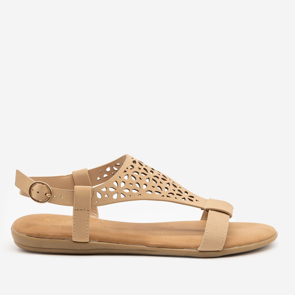 Women's Comfy Laser Cut Buckled Sandals - Bamboo Shoes - Nude / 5