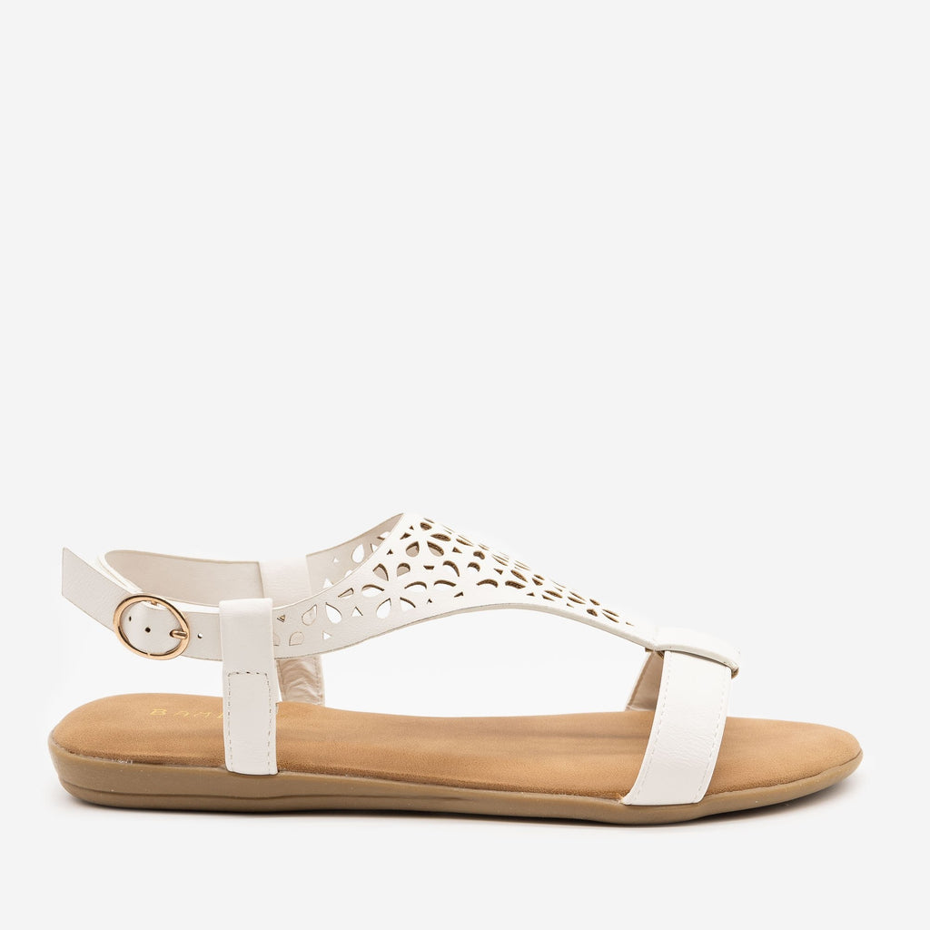 Women's Comfy Laser Cut Buckled Sandals - Bamboo Shoes - White / 5