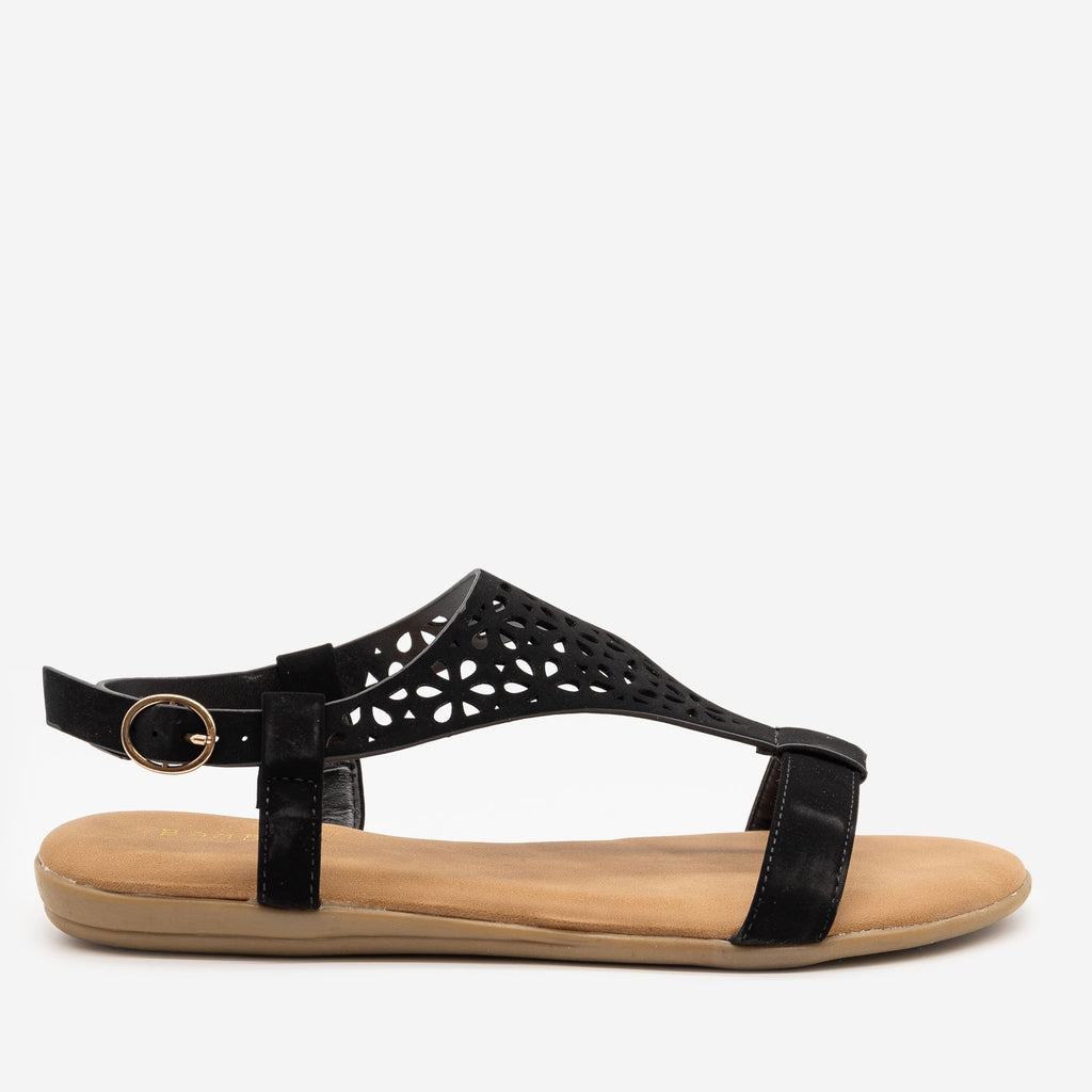 Women's Comfy Laser Cut Buckled Sandals - Bamboo Shoes - Black / 5