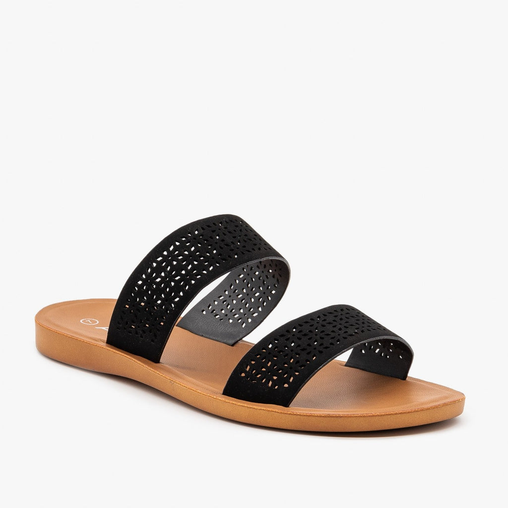 Womens Comfy Laser Cut Slip On Sandals - Anna Shoes - Black / 5