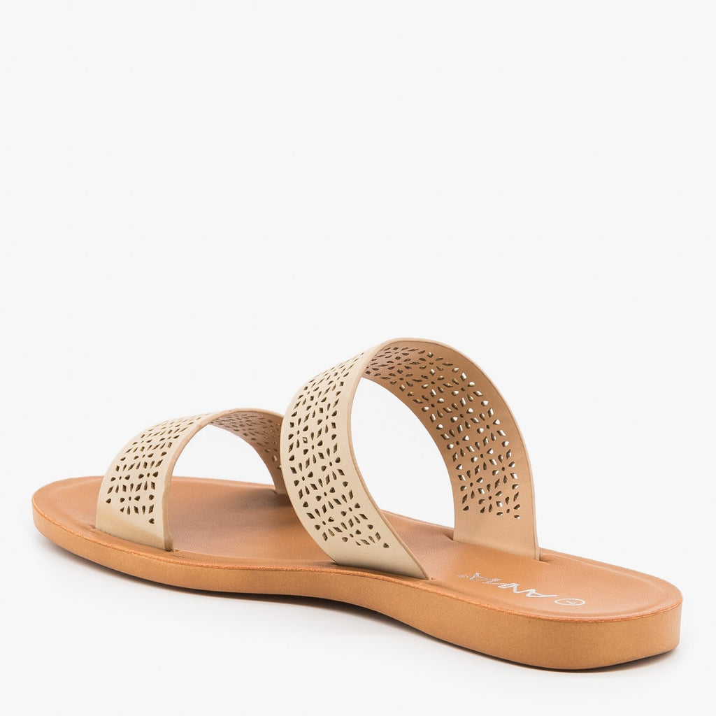 Women's Comfy Laser Cut Slip On Sandals - Anna Shoes
