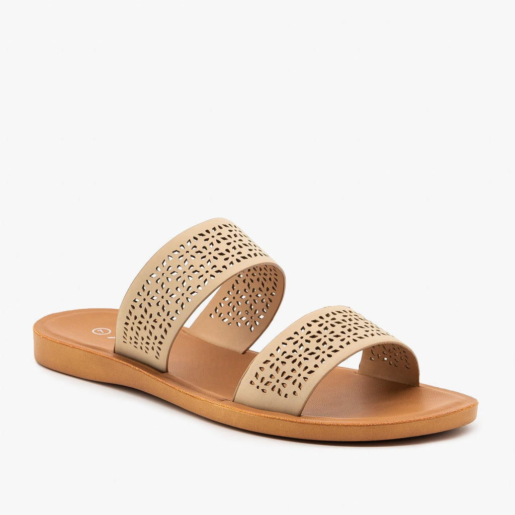 Womens Comfy Laser Cut Slip On Sandals - Anna Shoes - Natural / 5