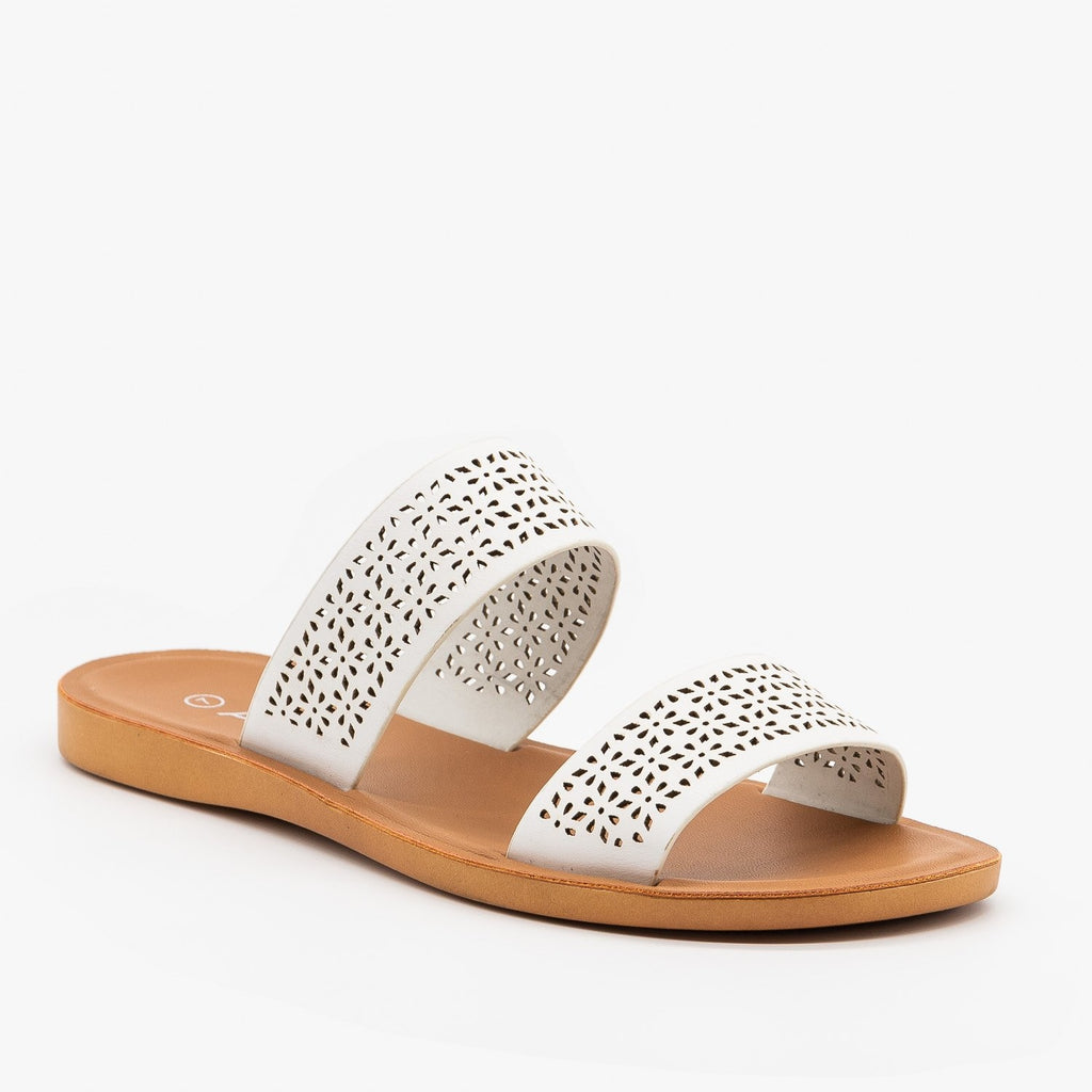 Womens Comfy Laser Cut Slip On Sandals - Anna Shoes - White / 5
