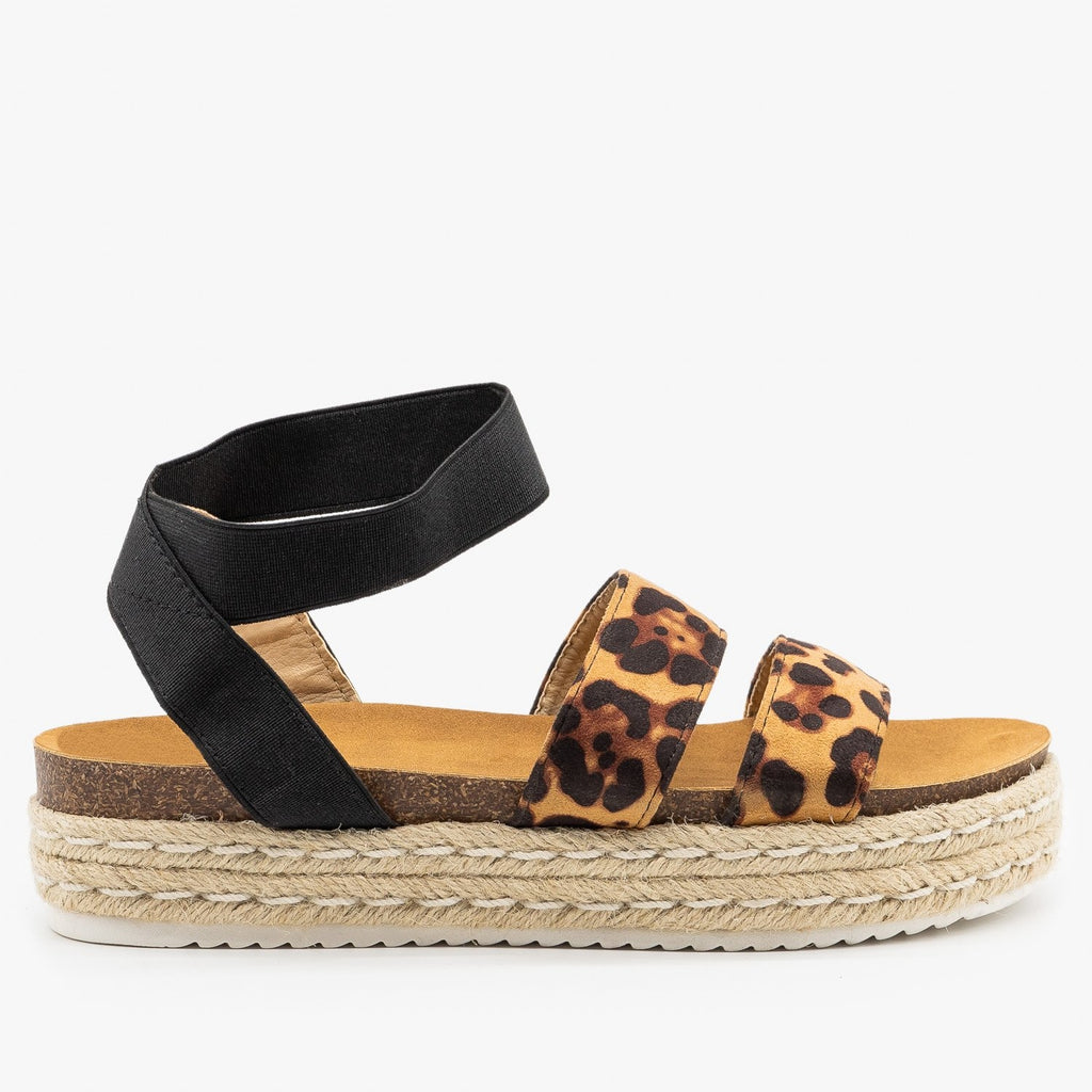 Womens Comfy Leopard Print Espadrille Sandals - Soho Girls - Leopard / 5