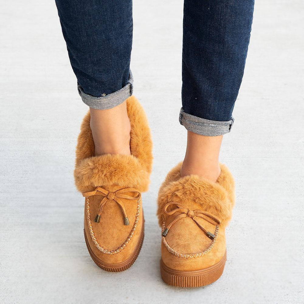 Women's Comfy Moccasin Style Sneakers - Bamboo - Tan / 5