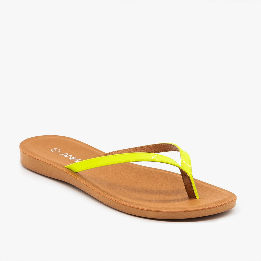 Womens Comfy Neon Flip Flops - Anna Shoes - Neon Yellow / 5