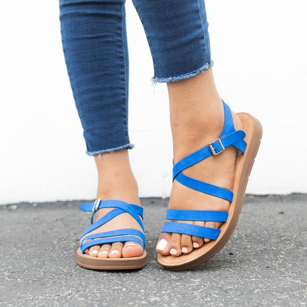 Womens Comfy Open Toe Sandals - Bamboo Shoes - Blue / 5