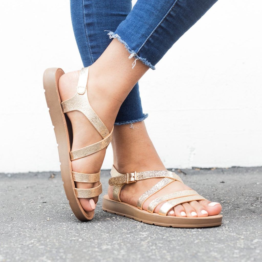Womens Comfy Open Toe Sandals - Bamboo Shoes - Rose Gold / 5
