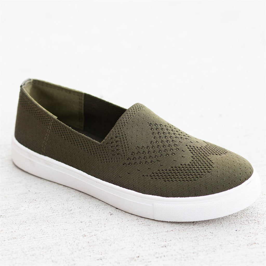 Womens Comfy Pinhole Slip-On Flats - Refresh - Olive / 5