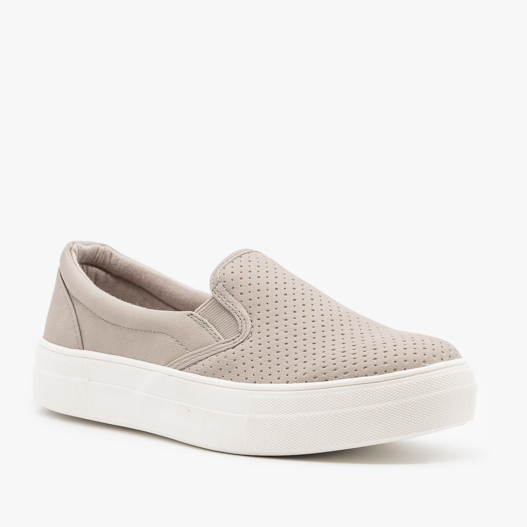Womens Comfy Pinhole Slip On Sneakers - Soda Shoes - Clay / 5