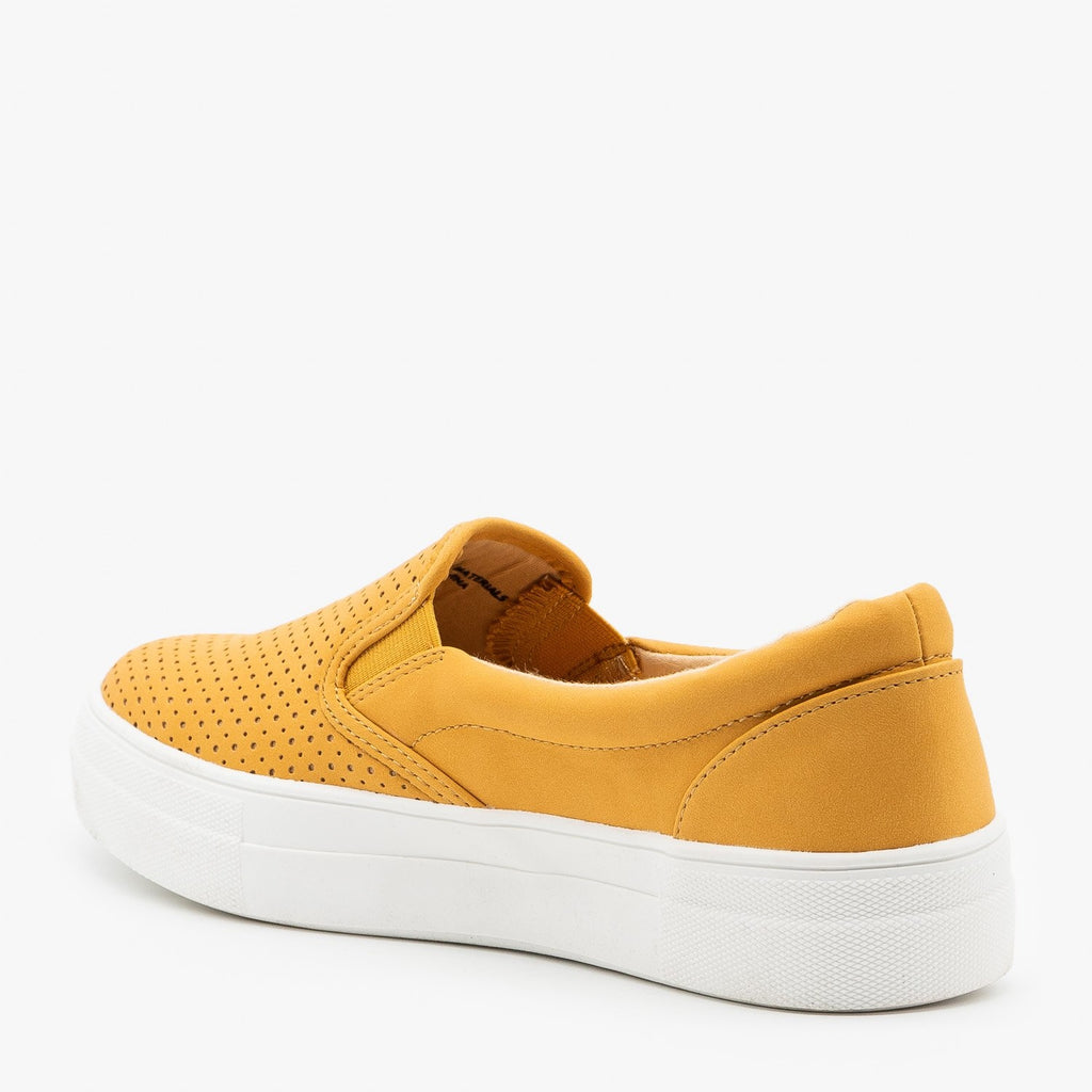 Womens Comfy Pinhole Slip On Sneakers - Soda Shoes