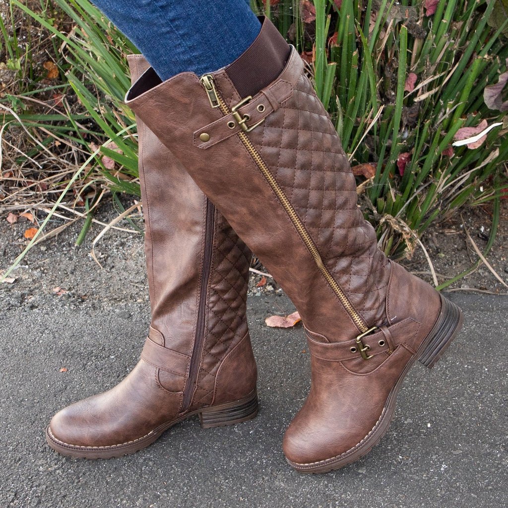 Women's Comfy Quilted Boots - vendor-unknown - Brown / 5