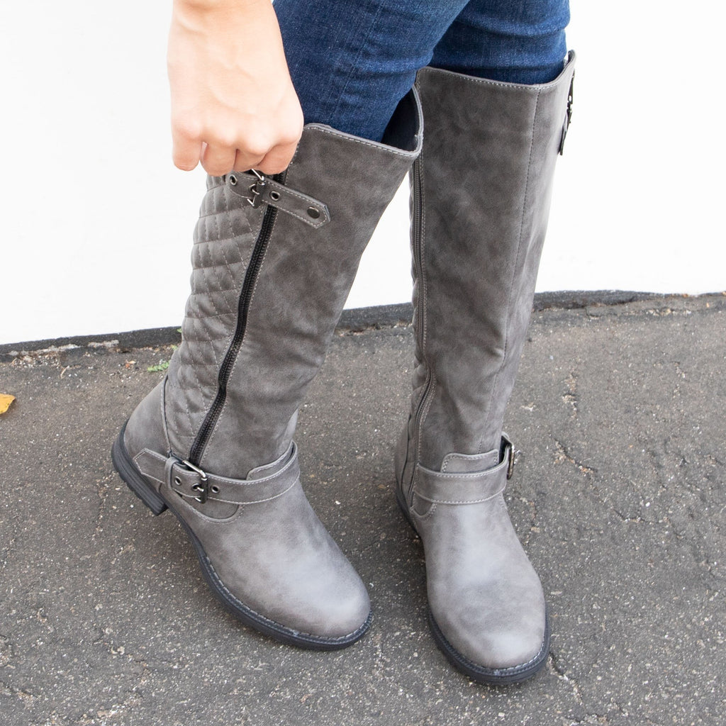 Women's Comfy Quilted Boots - vendor-unknown - Gray / 5