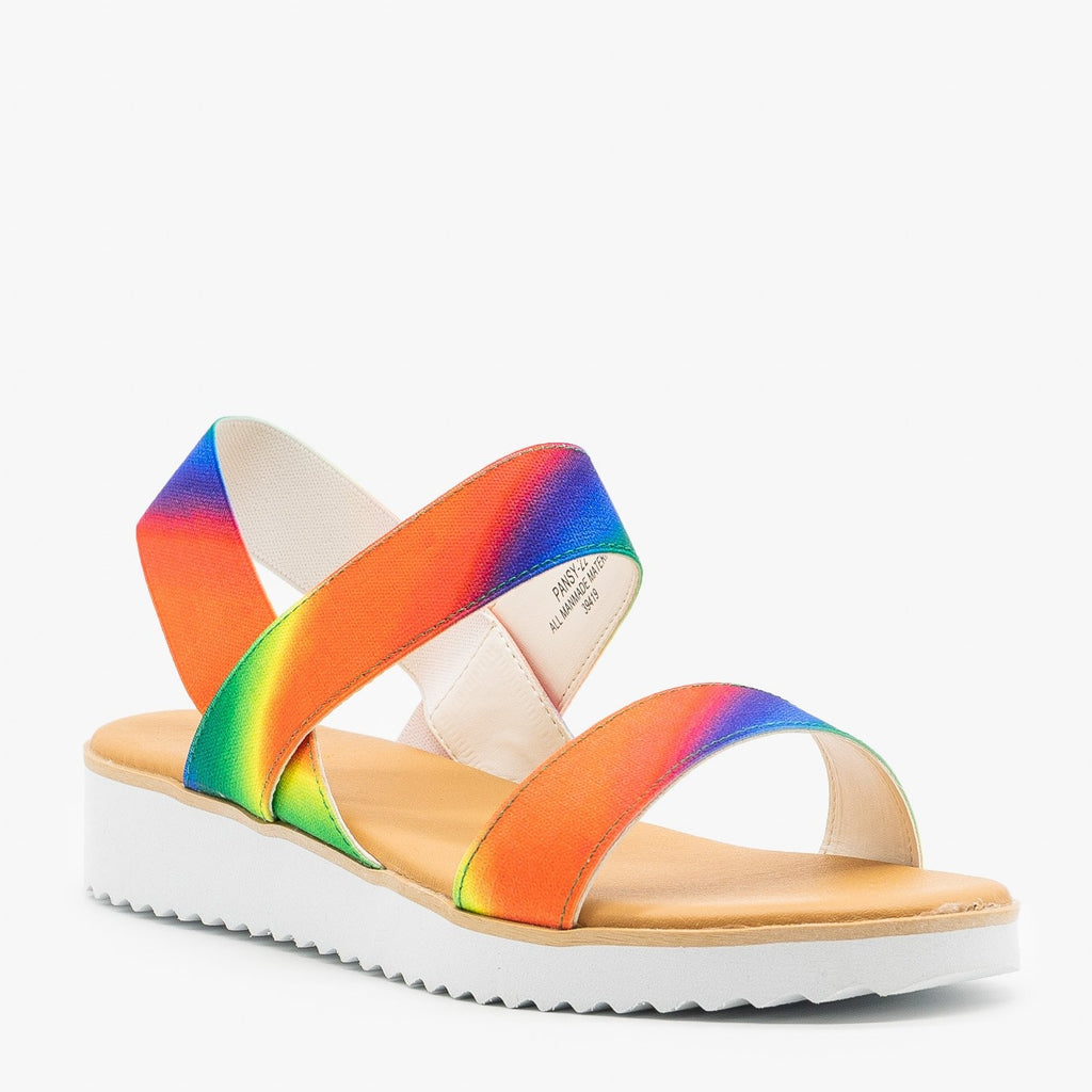 Womens Comfy Rainbow Sandals - Bamboo Shoes