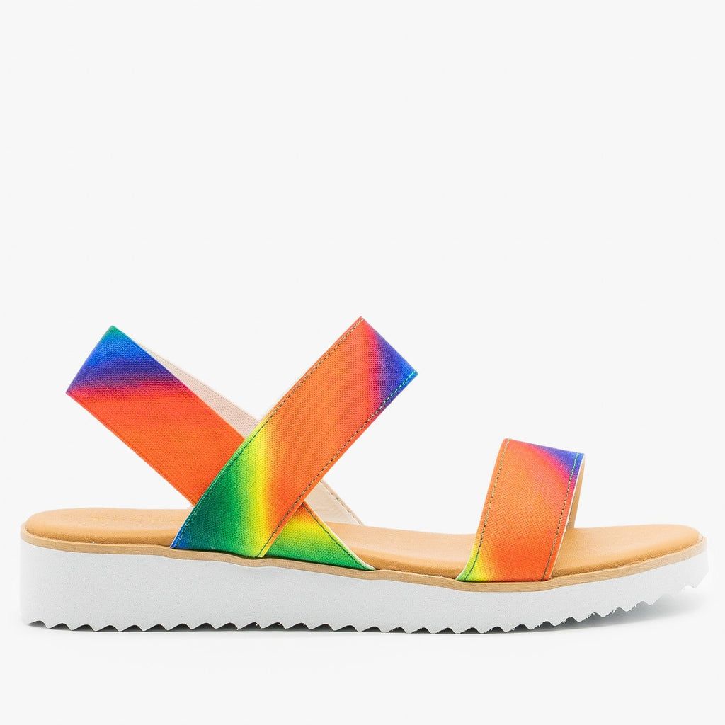 Womens Comfy Rainbow Sandals - Bamboo Shoes - Rainbow / 5
