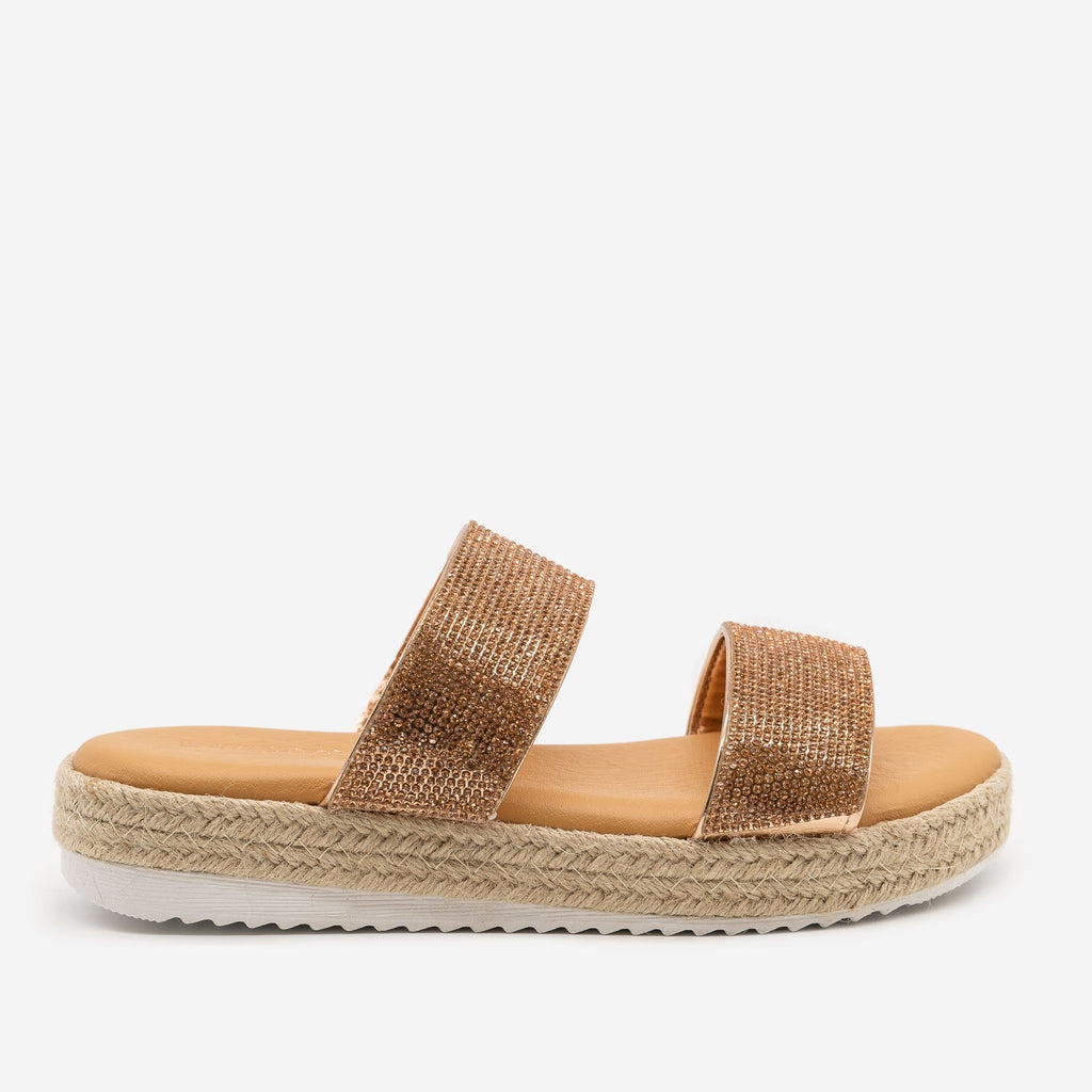 Women's Comfy Rhinestone Espadrille Slides - Bamboo Shoes - Rose Gold / 5