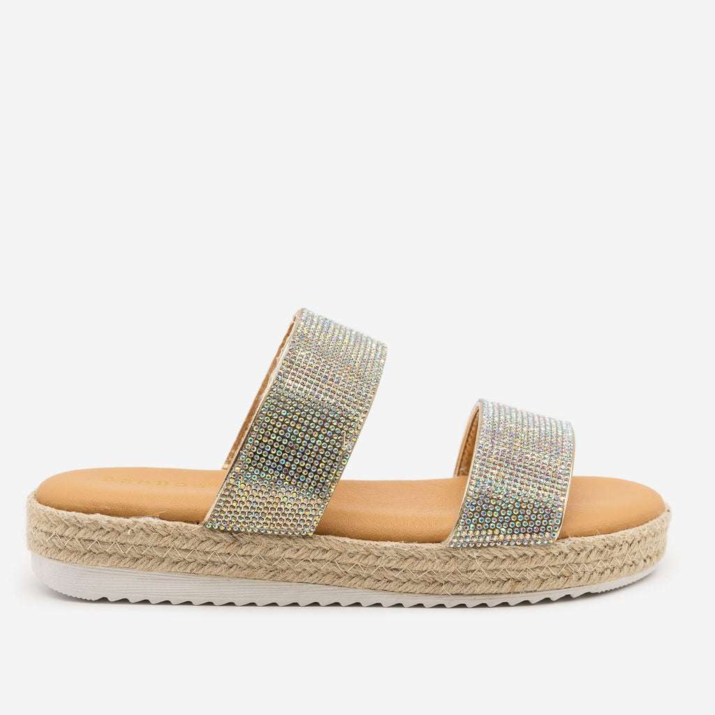 Women's Comfy Rhinestone Espadrille Slides - Bamboo Shoes - Gold / 5