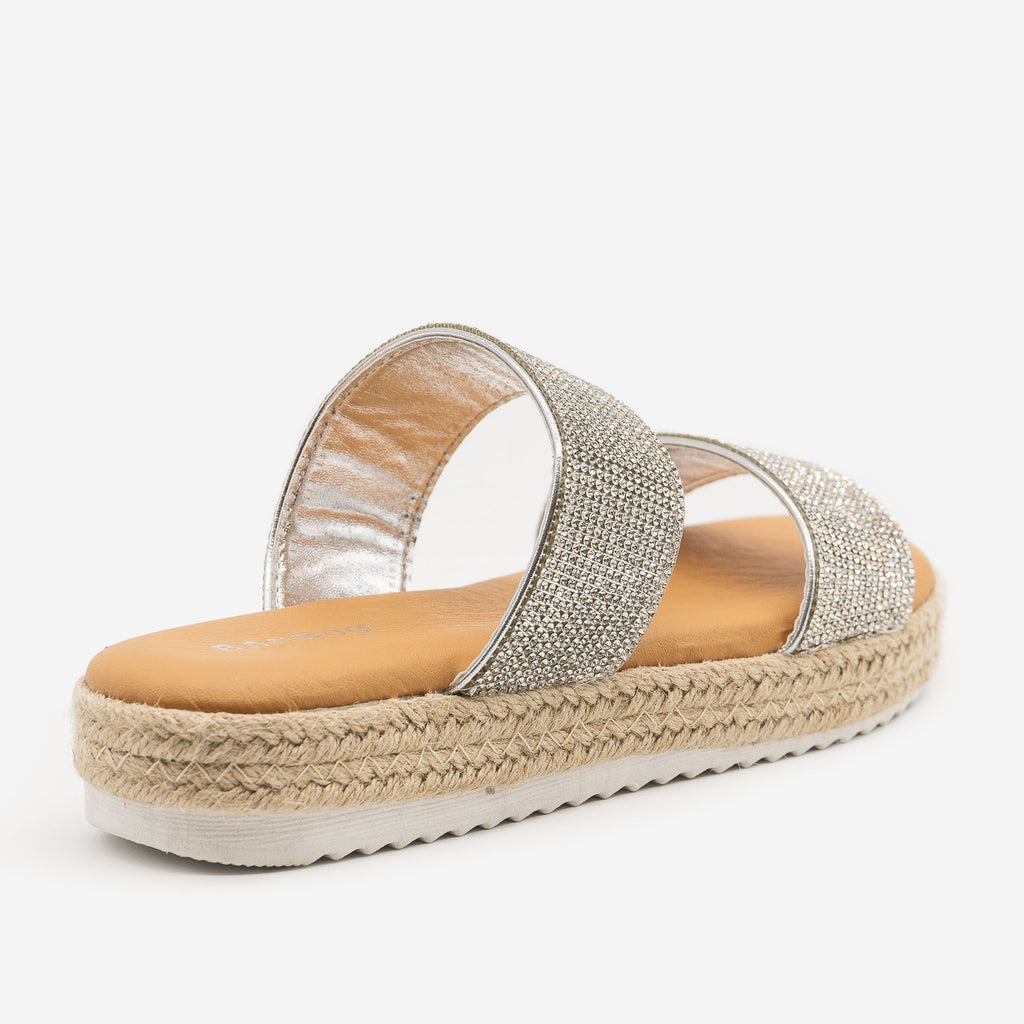 Women's Comfy Rhinestone Espadrille Slides - Bamboo Shoes