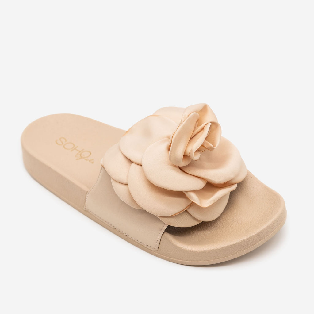 Women's Comfy Rose Slides - Soho Girls - Nude / 5