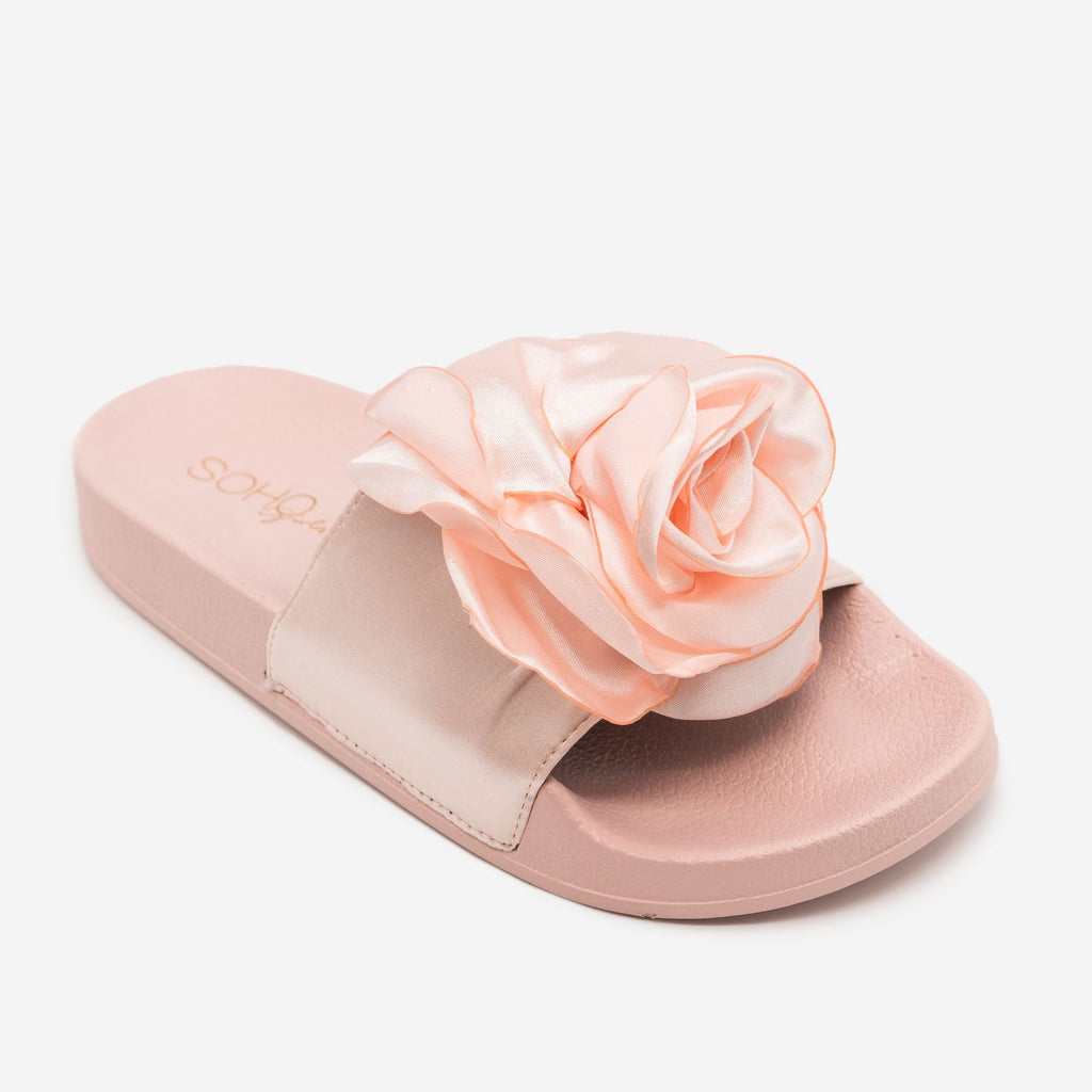 Women's Comfy Rose Slides - Soho Girls - Blush / 5