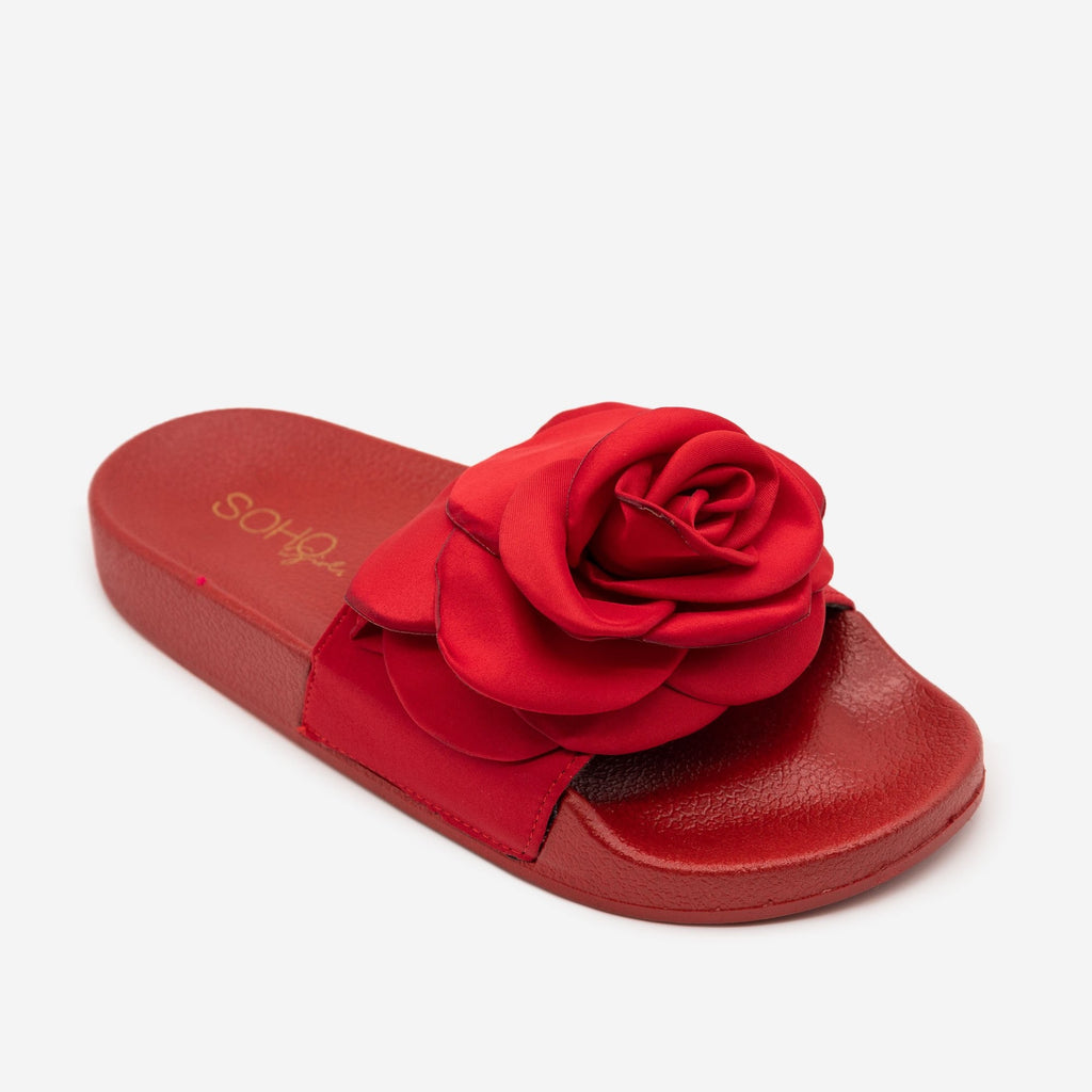 Women's Comfy Rose Slides - Soho Girls - Red / 5