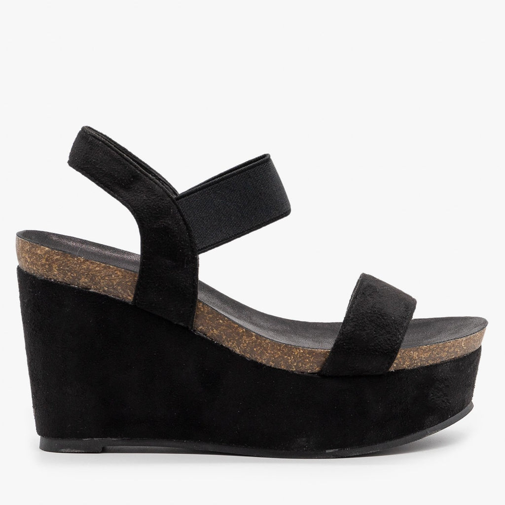 Womens Comfy Sassy Platform Wedges - Refresh - Black / 5
