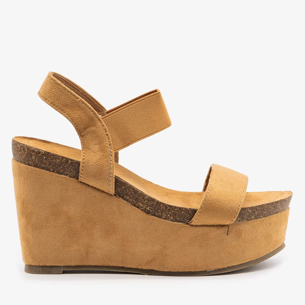 Womens Comfy Sassy Platform Wedges - Refresh - Camel / 5