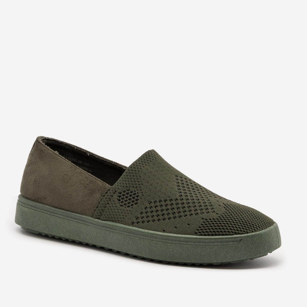 Women's Comfy Slip On Knit Sneakers - Bamboo Shoes - Olive / 5