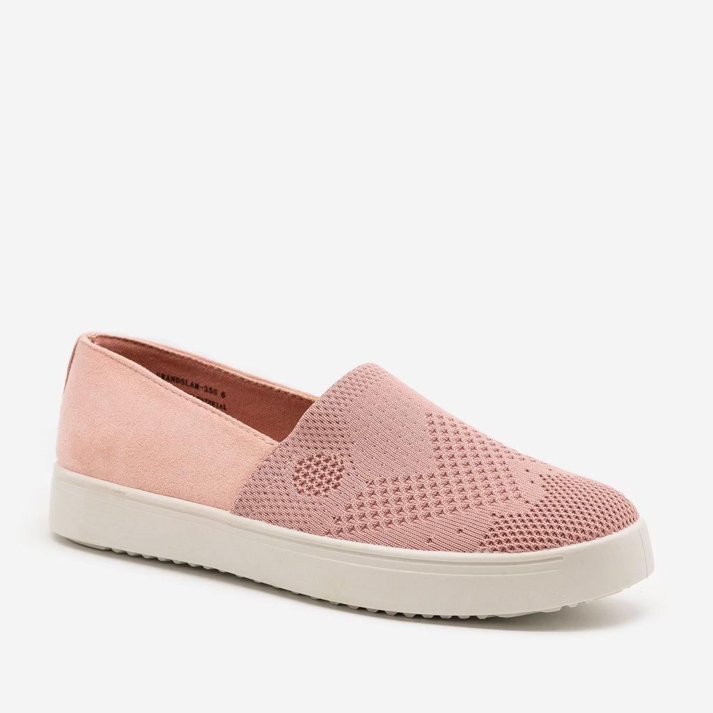 Women's Comfy Slip On Knit Sneakers - Bamboo Shoes - Mauve / 5