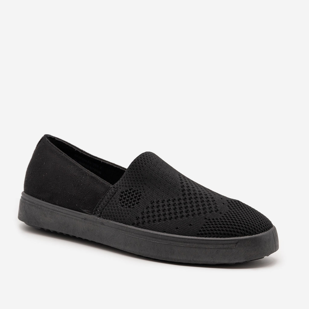 Women's Comfy Slip On Knit Sneakers - Bamboo Shoes - Black / 5