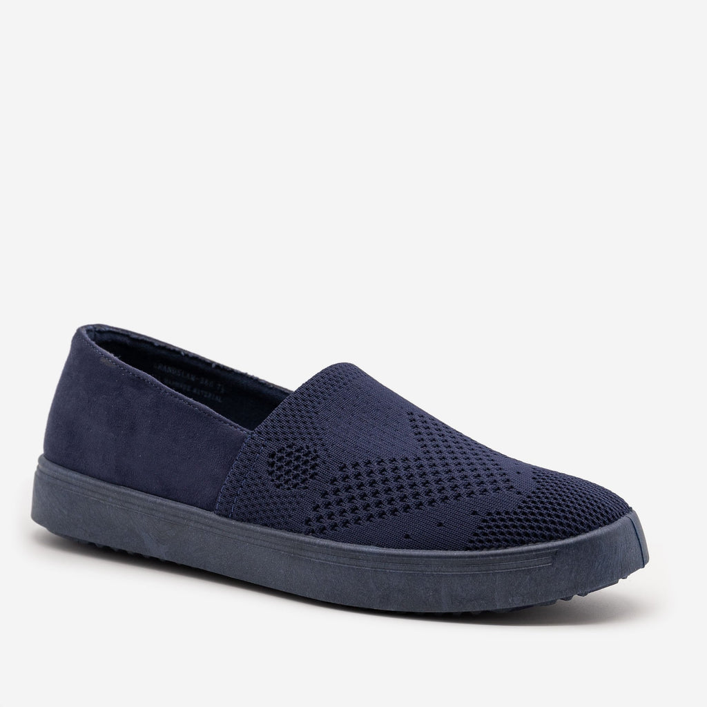 Women's Comfy Slip On Knit Sneakers - Bamboo Shoes - Navy / 5