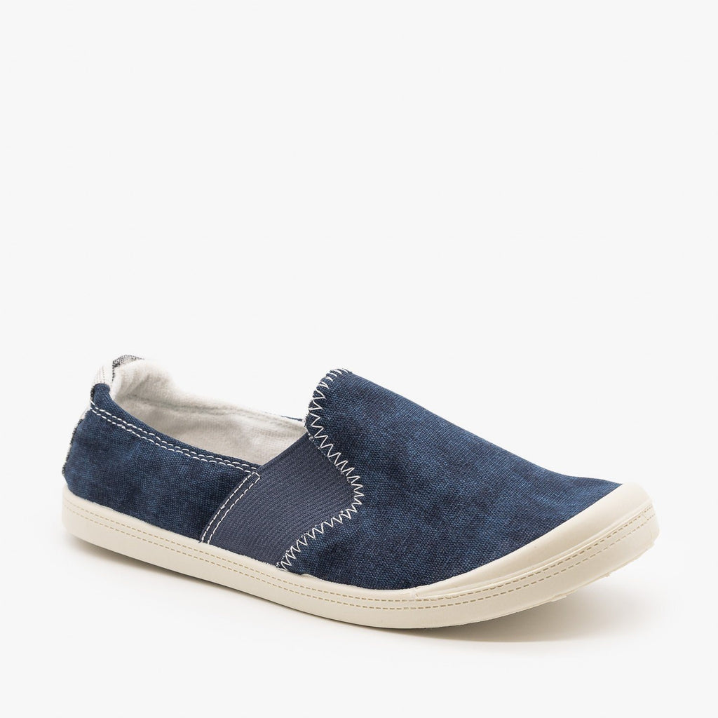 Womens Comfy Slip On Sneakers - Forever - Navy / 5