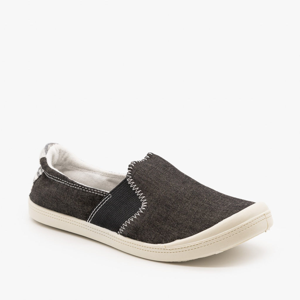 Womens Comfy Slip On Sneakers - Forever - Black / 5