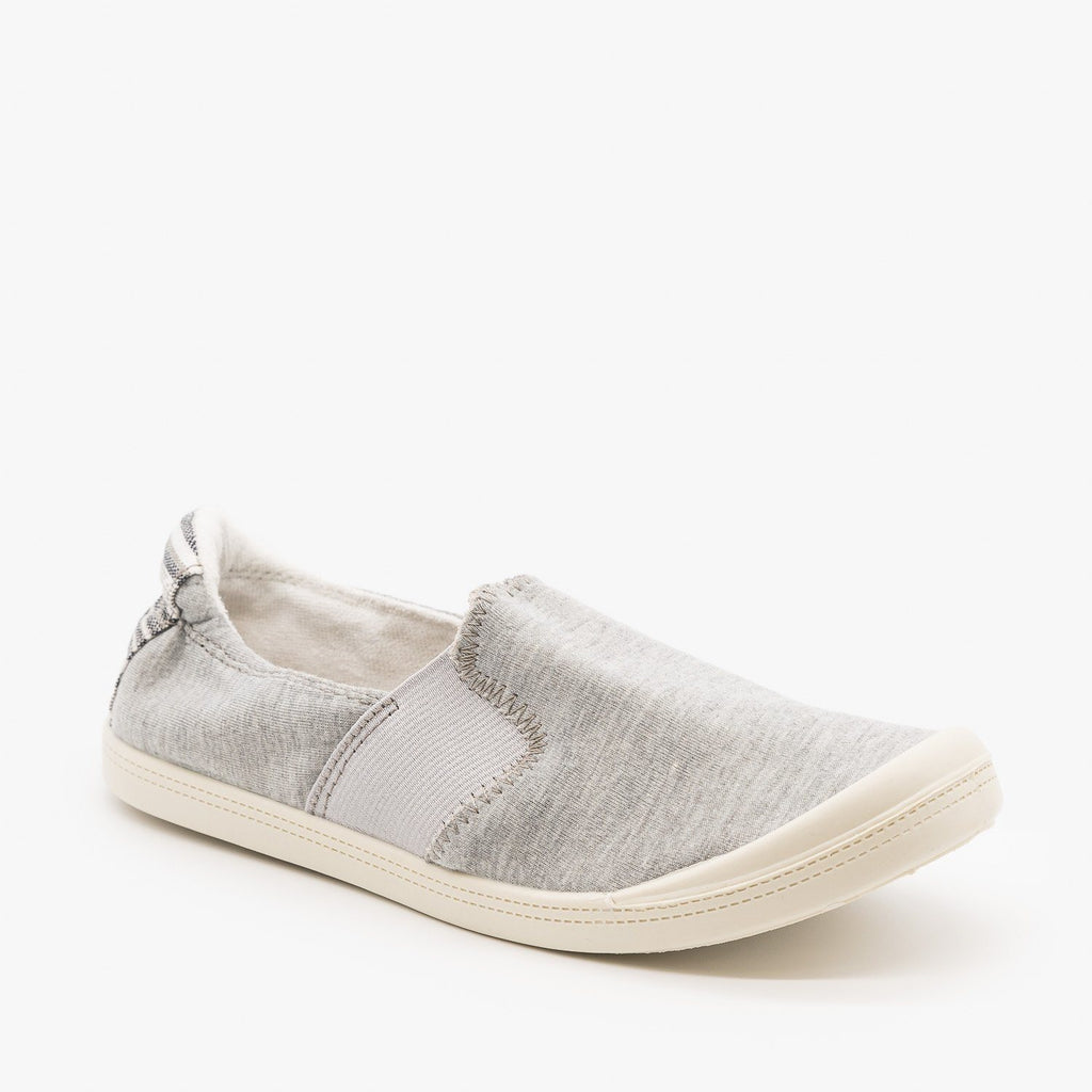 Womens Comfy Slip On Sneakers - Forever - Light Gray / 5
