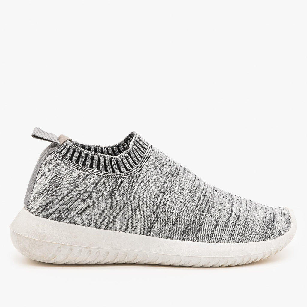 Womens Comfy Sock Sneakers - Wild Diva Shoes - Gray / 5