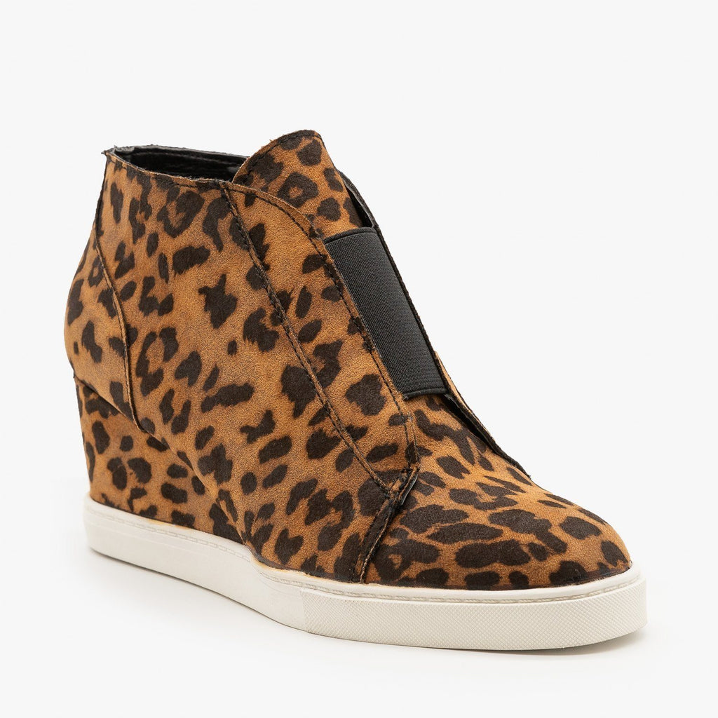 Womens Comfy Sporty Sneaker Wedges - Soda Shoes - Tan Leopard / 5
