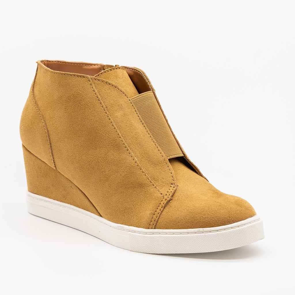 Womens Comfy Sporty Sneaker Wedges - Soda Shoes - Chamios / 5