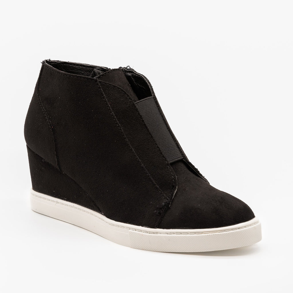 Womens Comfy Sporty Sneaker Wedges - Soda Shoes - Black / 5