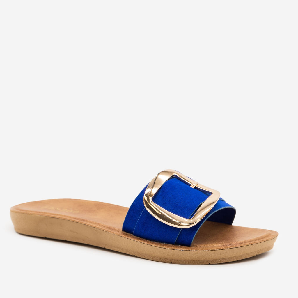 Women's Comfy Square Buckle Sandals - Bamboo Shoes - Blue / 5