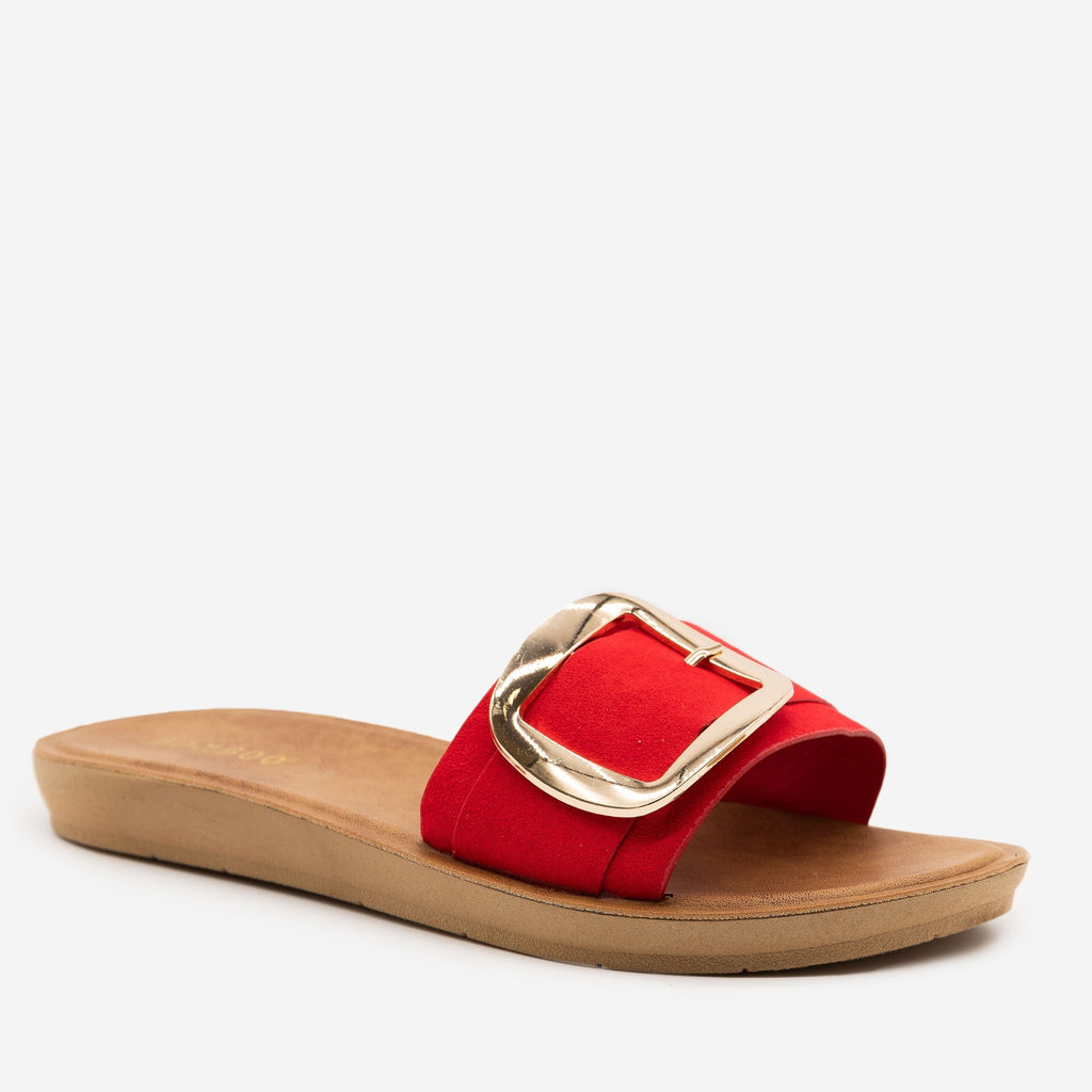 Women's Comfy Square Buckle Sandals - Bamboo Shoes - Red / 5