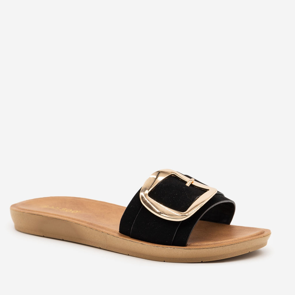 Women's Comfy Square Buckle Sandals - Bamboo Shoes - Black / 5