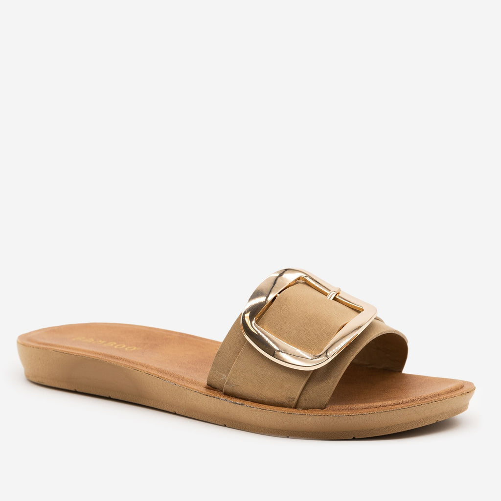 Women's Comfy Square Buckle Sandals - Bamboo Shoes - Natural / 5